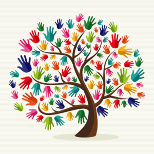 Compassionate Tree with hand shape leaves
