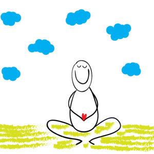 Child drawing of man meditating